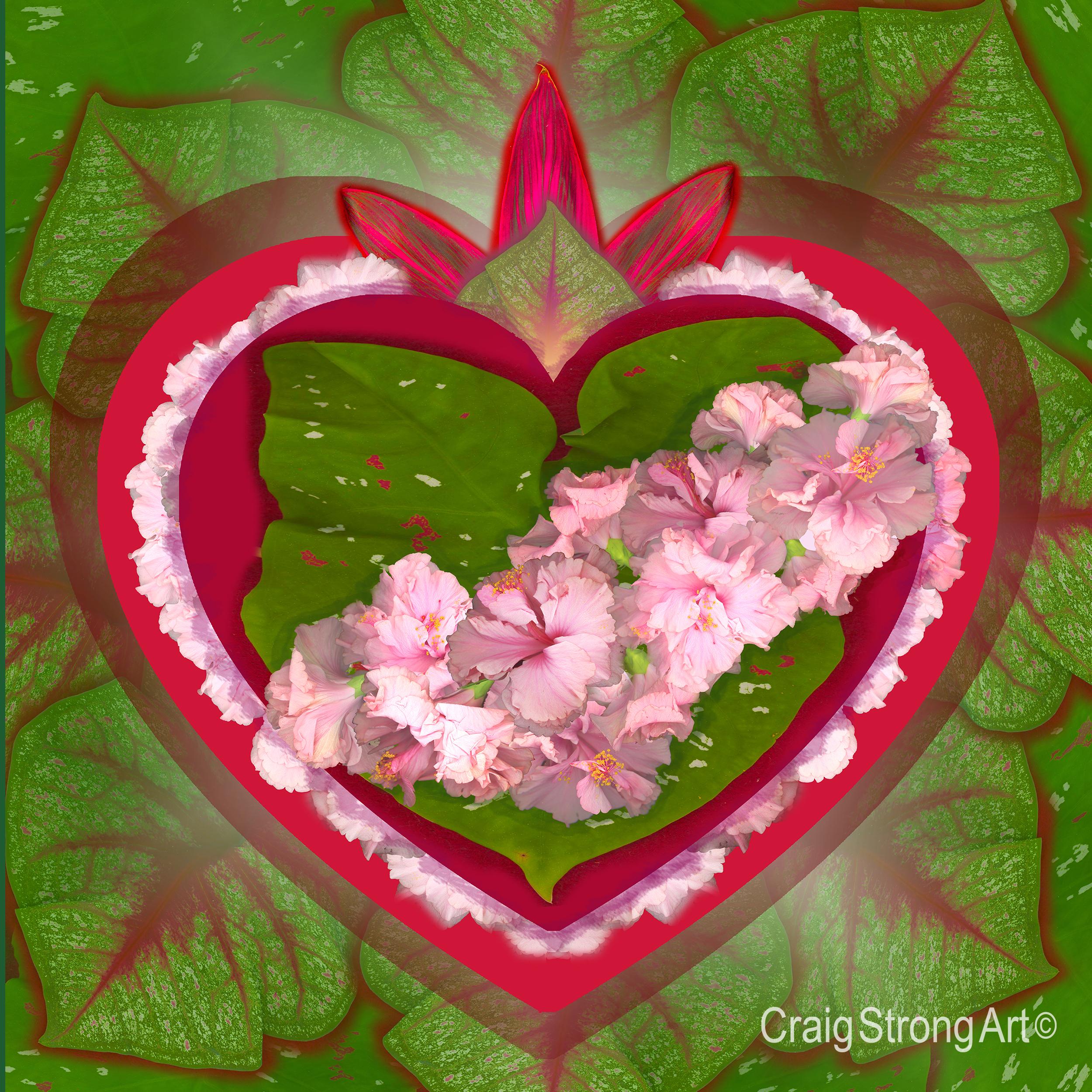 Corazón hibisco verde