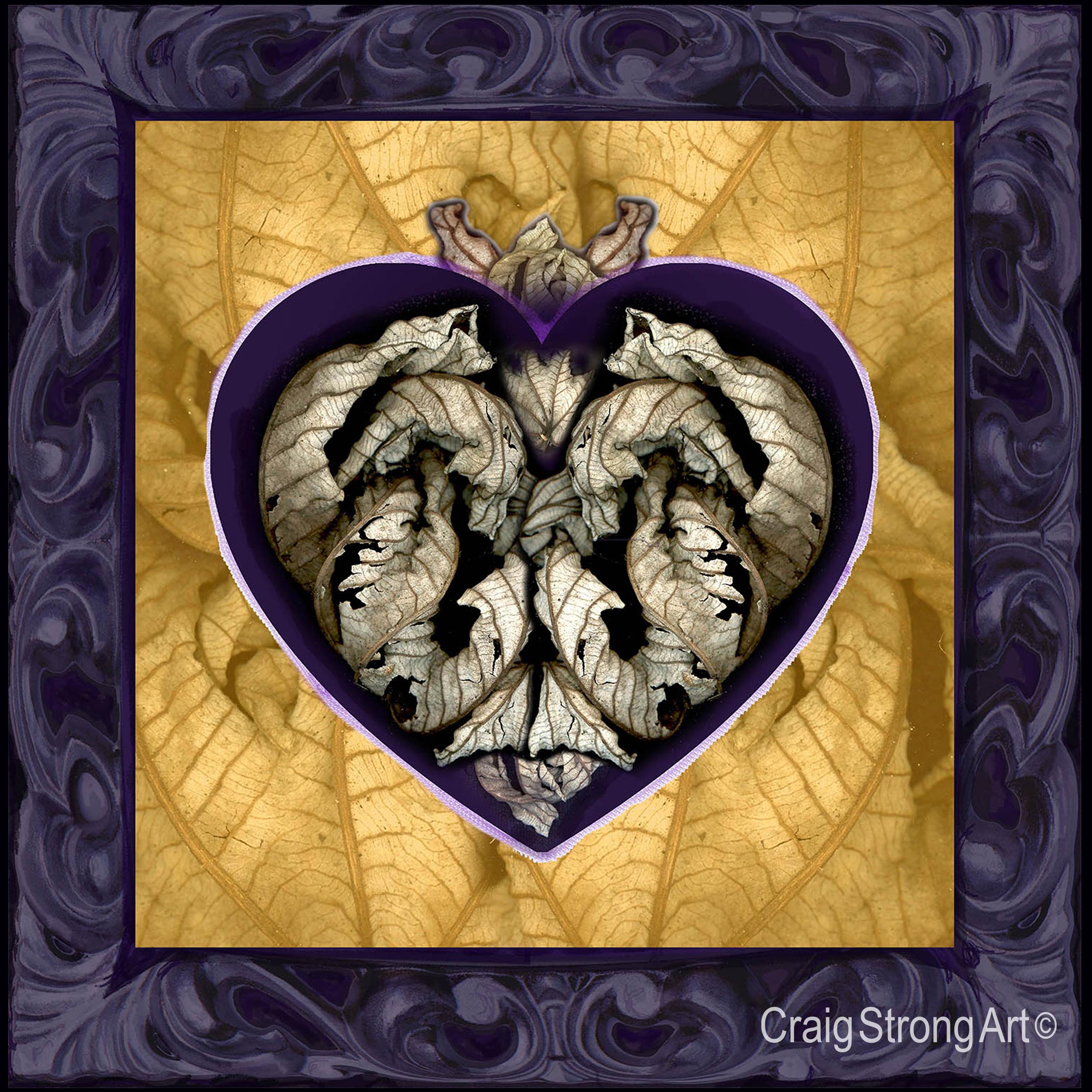 Corazón hoja muerta enmarcados